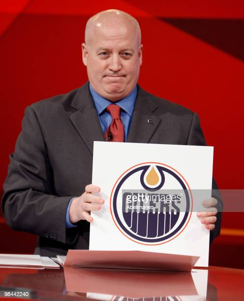 Deputy Commissioner of the NHL Bill Daly announces top pick to the Edmonton Oilers during the NHL Draft Lottery Drawing at the TSN Studio April 13...