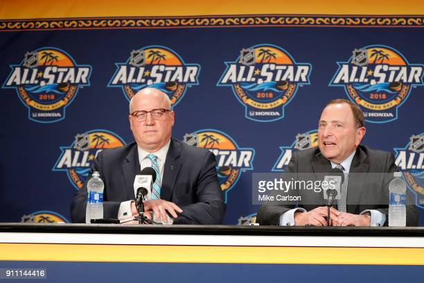 Deputy Commussioner Bill Daly and NHL Commissioner Gary Bettman speaks during media availability prior to 2018 Geico NHL AllStar Skills Competition...