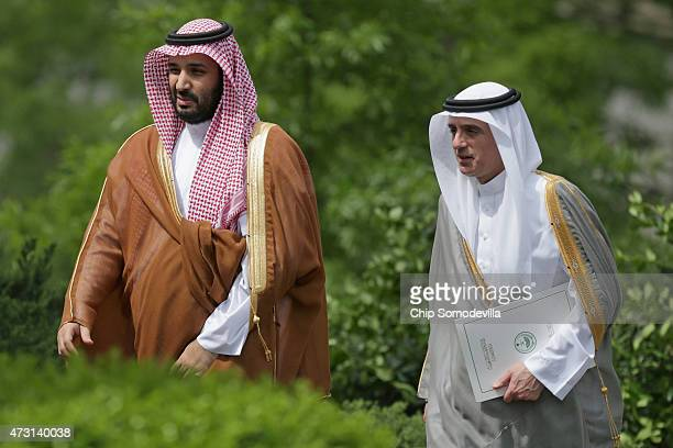 Deputy Crown Prince Mohammed bin Salman of Saudi Arabia and Saudi Minister of Foreign Affairs Adel Al-Jubeir arrive at the White House May 13, 2015...