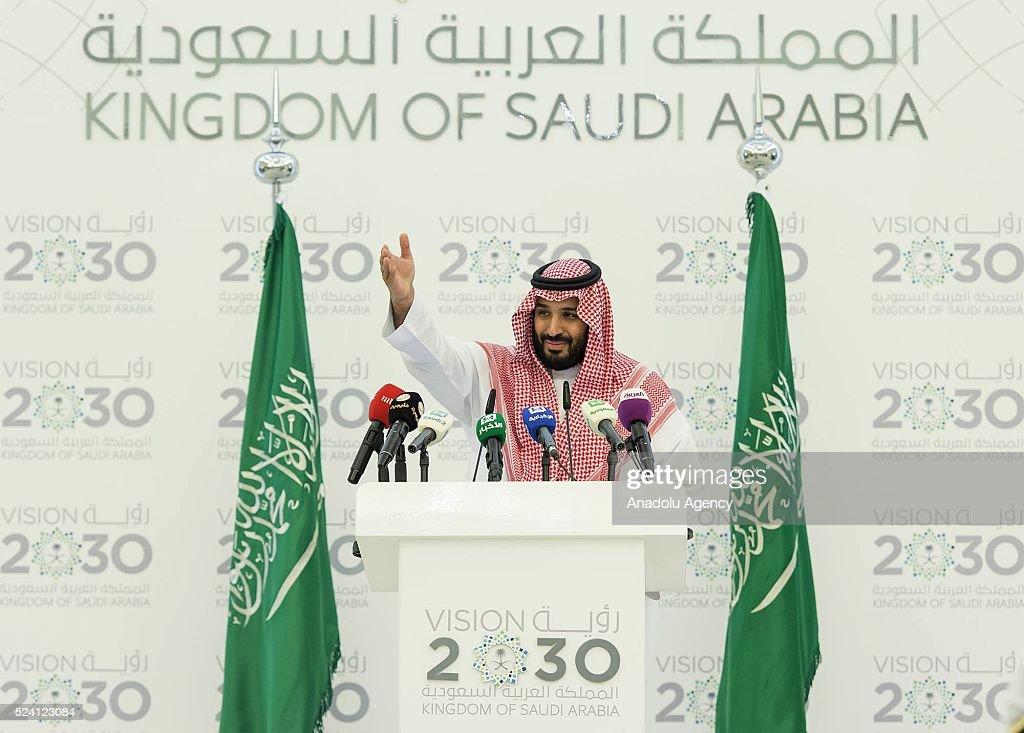 Deputy Crown Prince of Saudi Arabia Mohammad bin Salman Al Saud press conference in Riyadh : Nachrichtenfoto