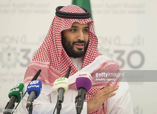 Deputy Crown Prince of Saudi Arabia Mohammad bin Salman Al Saud delivers a speech during a press conference in Riyadh Saudi Arabia on April 25 2016