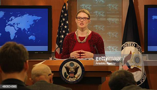 Deputy Department Spokesperson Marie Harf answers the questions about the ban on Twitter and Youtube access at daily press briefing in Washington...