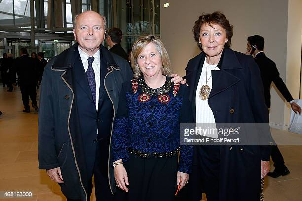 Deputy Director for the creation at Louis Vuitton Foundation Sophie Durrleman standing between Jacques Toubon and his wife Lise attend the 'Les Clefs...