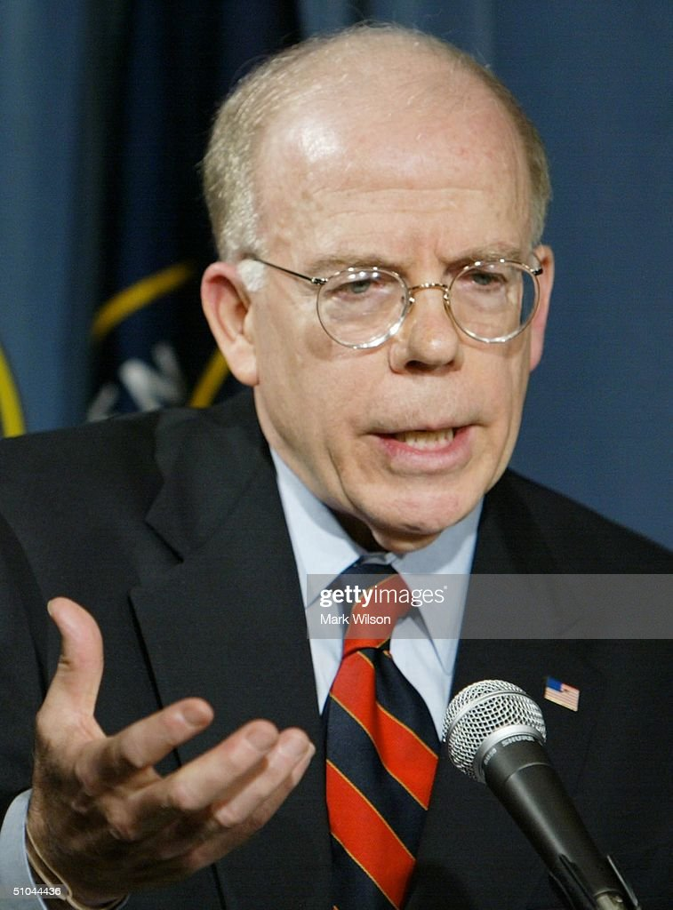 Deputy Director of Central Intelligence John E. McLaughlin gives the CIA's response to the Senate intelligence report, July 9, 2004 at CIA headquarters in Langley, Virginia. Earlier today the Senate Intelligence Committee released its report on the numerous failures in the CIA reporting of alleged Iraqi weapons of mass destruction.