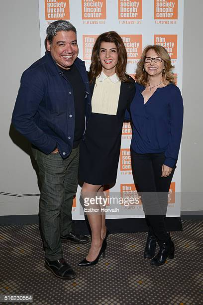 Deputy Director of Film Society Eugene Hernandez actress Nia Vardalos and producer Anne Hubbell attends Nia Vardalos In Conversation at The Film...