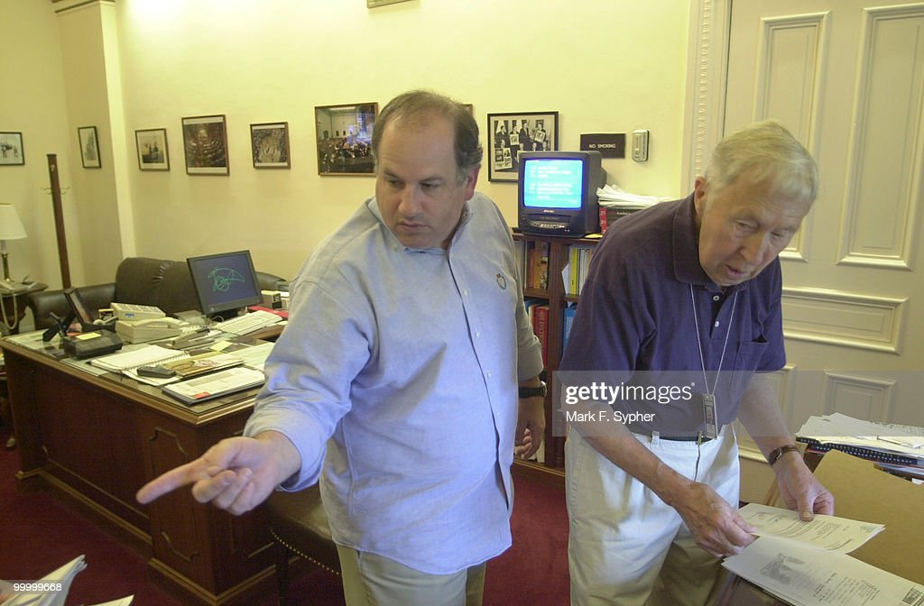 Deputy Director of Press Photographers Gallery, Mark Abraham, left, and former Superintendant of Press Photographers Gallery, Maurice Johnson, discuss rumors concerning a possible move and consolidation among the press offices in the Capital.
