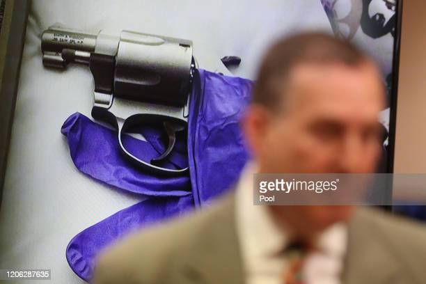 Deputy District Attorney John Lewin presents evidence during opening statements in Robert Durst's murder trial on March 9 2020 in Los Angeles...