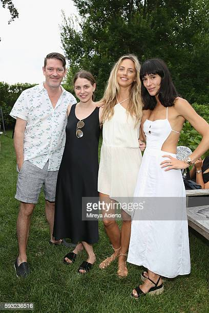 Deputy editor at Daily Front Row, Eddie Roche, guest, model Leilani Bishop and the founder of EyeSwoon, Athena Calderone attend Daily Front Row's...
