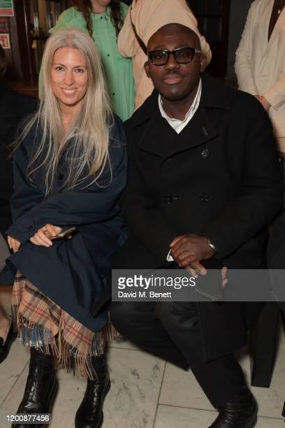 Deputy Editor of British Vogue Sarah Harris and EditorInChief of British Vogue Edward Enninful attend the Halpern show during London Fashion Week...