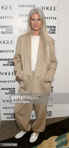 Deputy Editor of British Vogue Sarah Harris attends the Fashion Our Future launch event at Claridge's Hotel on February 17 2020 in London England...