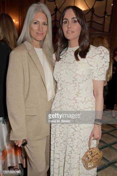 Deputy Editor of British VogueSarah Harris and Tania Fares attend the Fashion Our Future launch event at Claridge's Hotel on February 17 2020 in...