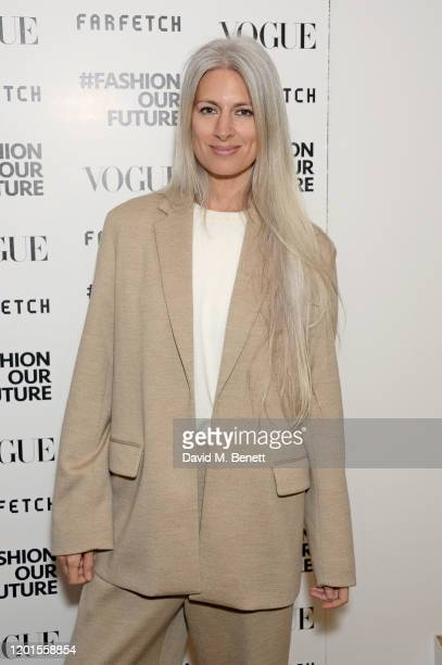 Deputy Editor of British VogueSarah Harris attends the Fashion Our Future launch event at Claridge's Hotel on February 17 2020 in London England...