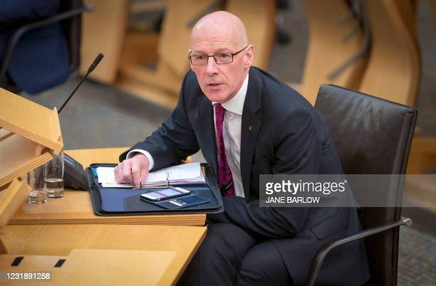 Deputy First Minister John Swinney attends the debate on the motion of no confidence against Scotland's First Minister Nicola Sturgeon, in the main...