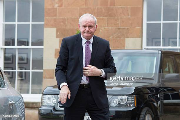 Deputy First Minister Martin McGuinness arrives at Hillsborough Castle to meet Queen Elizabeth II and Prince Philip Duke of Edinburgh on June 27 2016...