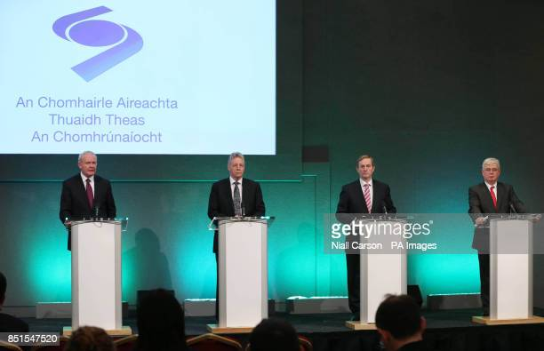 Deputy First Minister Martin McGuinness, First Minister Peter Robinson, Taoiseach Enda Kenny and Tanaiste Eamon Gilmore speaking at a press...