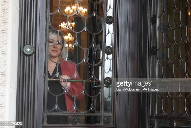 Deputy First Minister Michelle O'Neill before a press conference at Parliament Buildings in Stormont, Belfast.