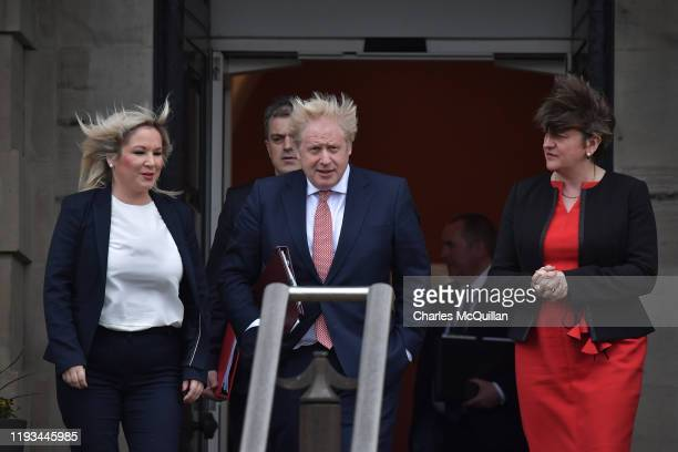 Deputy First Minister Michelle O'Neill of Sinn Fein, Secretary of State for Northern Ireland, Julian Smith, British Prime Minister, Boris Johnson and...