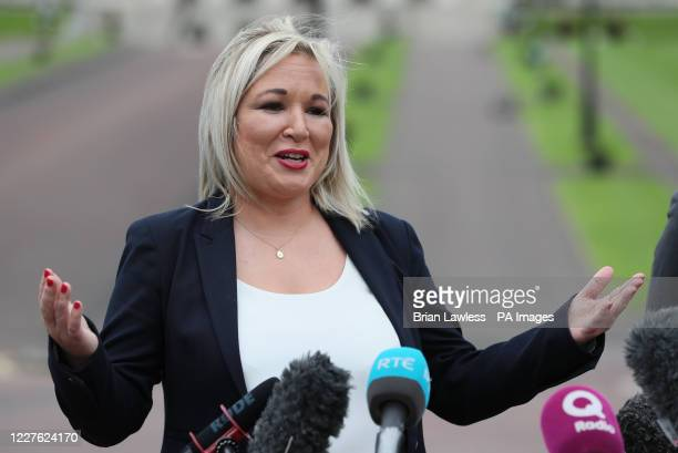 Deputy First Minister Michelle O'Neill outside Stormont Castle in Belfast, Northern Ireland, after a meeting with Taoiseach, Micheal Martin.