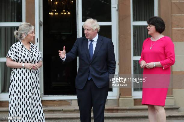 Deputy First Minister Michelle O'Neill, Prime Minister Boris Johnson and First Minister Arlene Foster at Hillsborough Castle during the Prime...