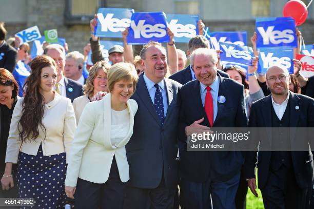 Deputy First Minister Nicola Sturgeon First Minister Alex Salmond and former deputy leader of the SNP Jim Sillars campaign with activists in...