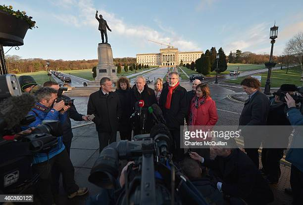 Deputy First Minister of Northern Ireland Martin McGuinness and Gerry Adams of Sinn Fein speak to the media at the cross party talks at Stormont on...
