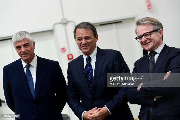 Deputy General Director of the LVMH group Antonio Belloni CEO of Thelios industry Giovanni Zoppas and Strategic director of the LVMH group Jean...