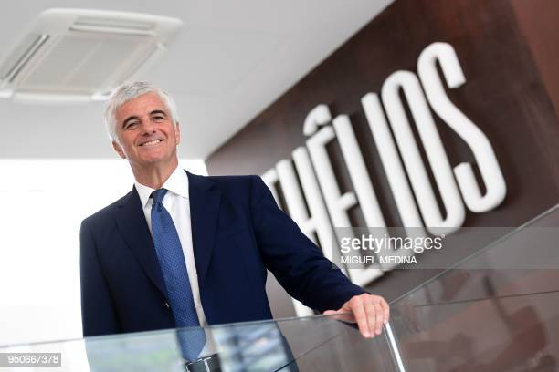 Deputy General Director of the LVMH group Antonio Belloni poses for photographs during the inauguration of the first LVMH eyewear factory in...