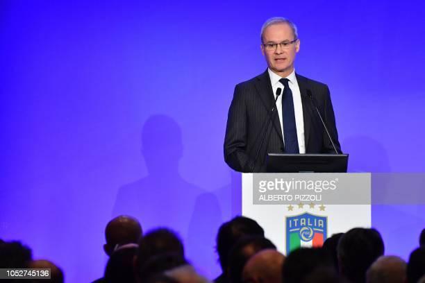 UEFA deputy general secretary Giorgio Marchetti addresses the elective assembly of the Italian Football Federation on October 22 2018 at the Hilton...