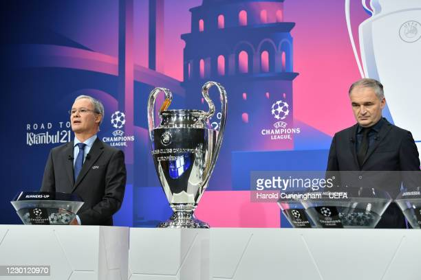 Deputy General Secretary Giorgio Marchetti and special guest Stéphane Chapuisat during the UEFA Champions League 2020/21 Round of 16 draw at the UEFA...