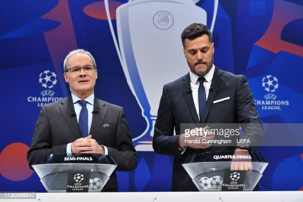 Deputy General Secretary Giorgio Marchetti and UEFA Champions League ambassador Julio Cesar on stage during the UEFA Champions League 2018/19...