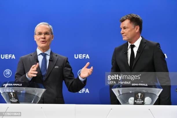 Deputy General Secretary Giorgio Marchetti and UEFA Europa League Ambassador Thomas Helmer during the UEFA Europa League 2019/20 Quarterfinal...
