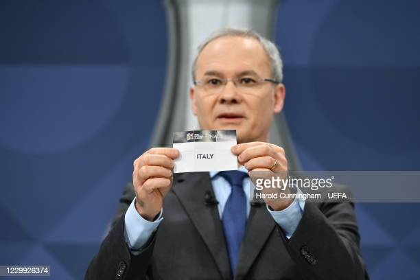 Deputy General Secretary Giorgio Marchetti draws out the name of Italy during the UEFA Nations League 2020/21 Finals draw at the UEFA Headquarters,...