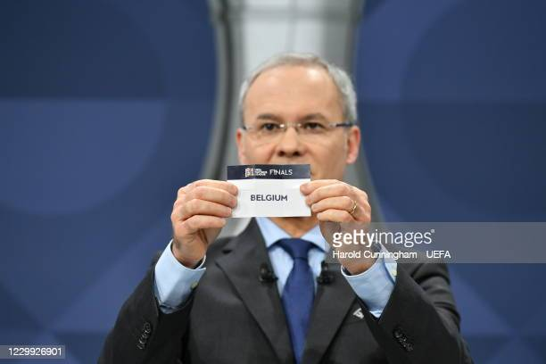 Deputy General Secretary Giorgio Marchetti draws out the name of Belgium during the UEFA Nations League 2020/21 Finals draw at the UEFA Headquarters,...
