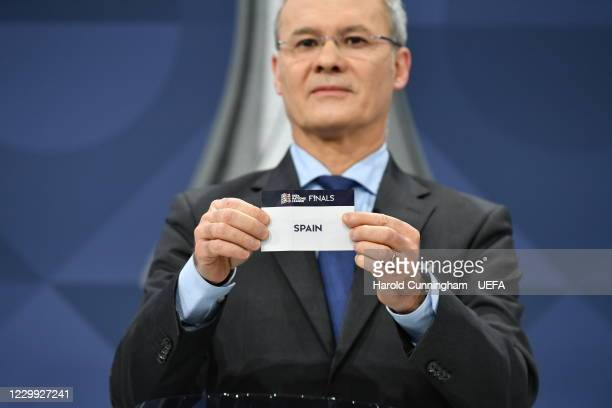 Deputy General Secretary Giorgio Marchetti draws out the name of Spain during the UEFA Nations League 2020/21 Finals draw at the UEFA Headquarters,...