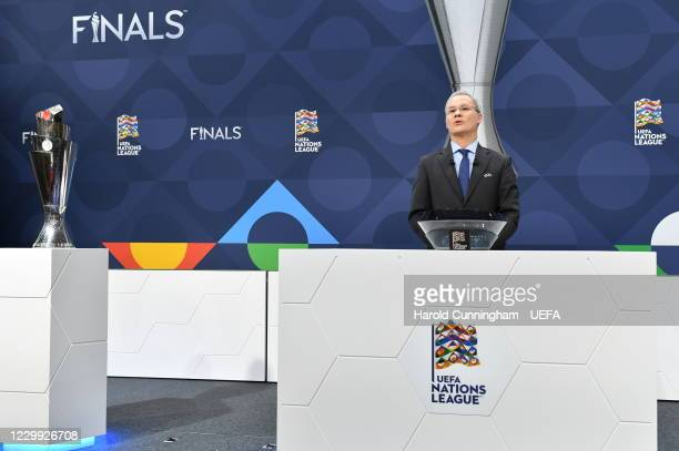 Deputy General Secretary Giorgio Marchetti during the UEFA Nations League 2020/21 Finals draw at the UEFA Headquarters, the House of European...