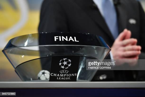 Deputy General Secretary Giorgio Marchetti Giorgio Marchetti gestures during the draw for the semifinals round of the UEFA Champions League football...