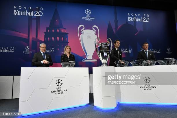 UEFA deputy general secretary Giorgio Marchetti UEFA Champions League ambassador Kelly Smith UEFA Champions League's ambassador Hamit Altintop and...