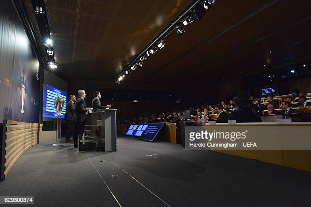Deputy General Secretary Giorgio Marchetti UEFA Chief of Communications and Media Pedro Pinto and UEFA Champions League Ambassador Ruud Gullit on...