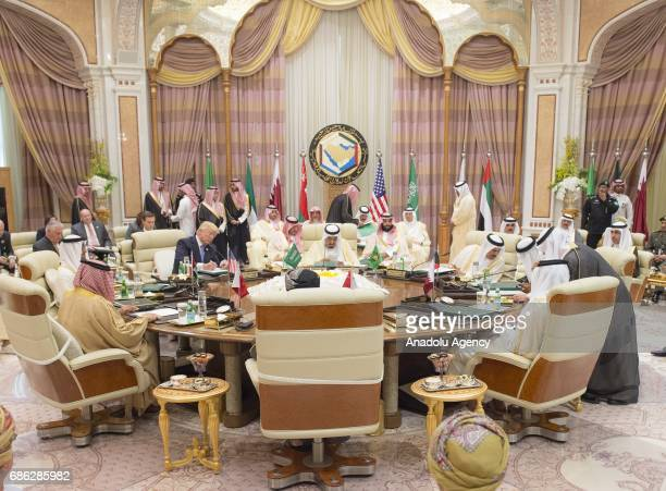 Deputy Governor of Riyadh Prince Muhammad bin AbdulRahman Al Saud and US President Donald Trump attend the US Gulf Summit at King Abdul Aziz...