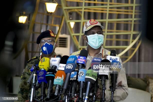 Deputy head of the Transitional Military Council of Sudan General Mohamed Hamdan speaks to the press as he returns to Khartoum, Sudan on September...