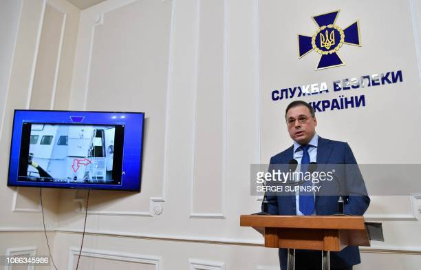Deputy Head of Ukrainian Security Service Oleg Frolov presents recorded talks of the seize of three Ukrainian ships by Russian forces on November 25...