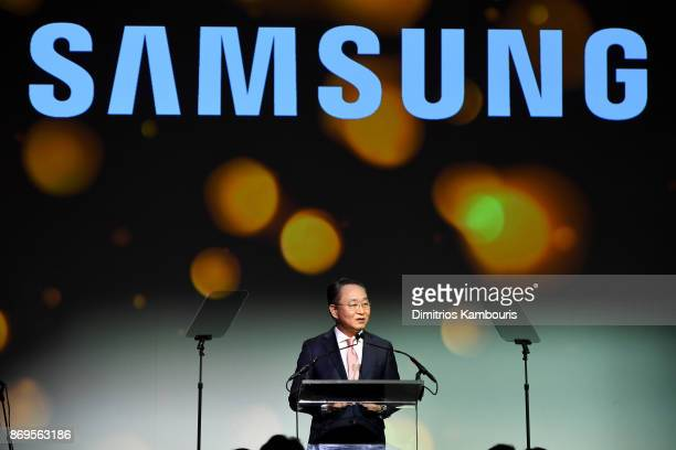 Deputy Head Samsung Electronics North America YH Eom speaks onstage during the Samsung annual charity gala 2017 at Skylight Clarkson Sq on November 2...