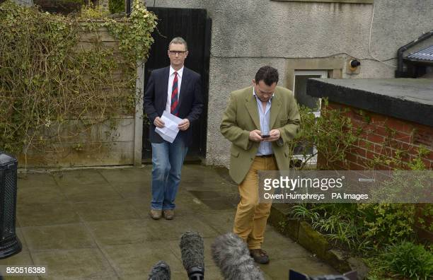 Deputy House speaker Nigel Evans gives a press statement at his home in Pendleton Lancashire where he said today that allegations he raped one man...