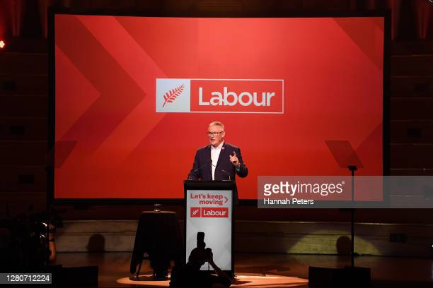 Deputy Labor Leader Kelvin Davis speaks during the Labor Party Election Night Function at Auckland Town Hall on October 17, 2020 in Auckland, New...