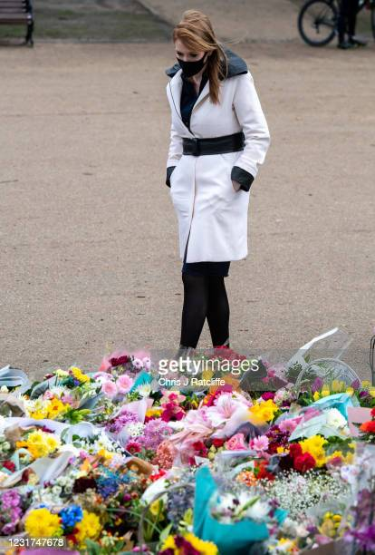Deputy Labour Leader Angela Rayner pays her respects at the memorial for Sarah Everard, on March 16, 2021 in London, England. Sarah Everard from...