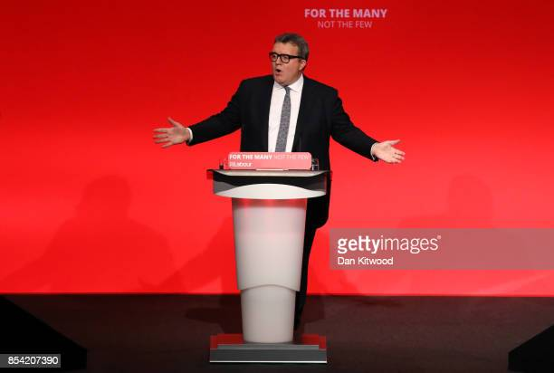 Deputy Labour party leader Tom Watson speaks to delegates in the main hall on day three of the annual Labour Party Conference on September 26 2017 in...