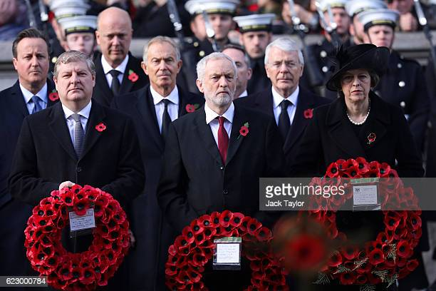 SNP deputy leader Angus Robertson Labour Leader Jeremy Corbyn and British Prime Minister Theresa May attend the annual Remembrance Sunday Service at...