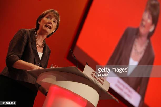 Deputy leader Harriet Harman delivers her speech on the fourth day of the Labour Party Conference on September 30 2009 in Brighton England The Labour...