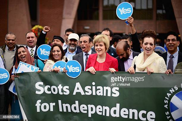 Deputy Leader Nicola Sturgeon meets with worshippers at Glasgow Central Mosque during the 'Yes' campaign for the Scottish Referendum on September 5...