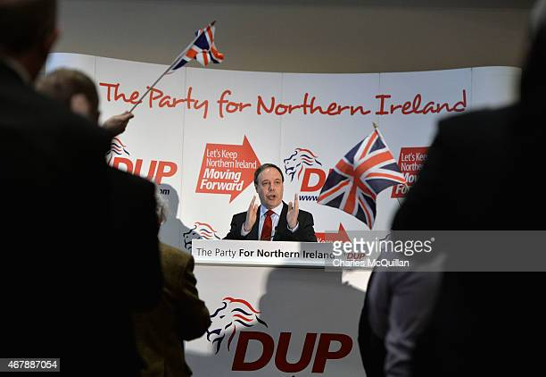 Deputy leader Nigel Dodds address party members at the Democratic Unionist Party Spring Conference on March 28, 2015 in Belfast, Northern Ireland....